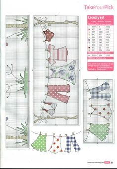 Cross Stitch Crazy 180 (September - Keep it Clean Laundry Day Set Cross Stitch Boards, Cross Stitch Love, Cross Stitch Designs, Cross Stitch Patterns, Cross Stitching, Cross Stitch Embroidery, Embroidery Patterns, Hand Embroidery, Needlework