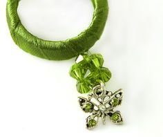 Silver Green Fabric Circle Necklace Green Hoop by gazellejewelry, $37.00
