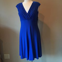 Lauren Blue Dress Petite NWT Dress. Bodice is lined; over the head style. Fabric is 95% polyester and 5% elastane. Shown on size 6/8 mannequin. Check out the $6 section near the bottom of my closet (before the sold items) for lots of bundle-worthy $6 items! 15% bundle discount on 2+ items in a bundle. Ralph Lauren Dresses