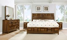 Roundhill Furniture Calais Solid Wood Construction Bedroom Set with Bed, Dresser, Mirror, 2 Night Stands, Queen, Walnut *** Check out the image by visiting the link.