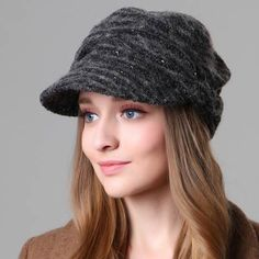 Warm ruched newsboy cap for women fashion casual winter wool hats