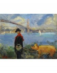 Wendy Johnson Oil Painting Truffle Pig in San Francisco