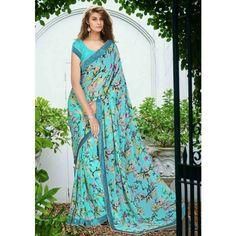 Georgette Lace Work Sky Blue Floral Print Saree - LBLO10