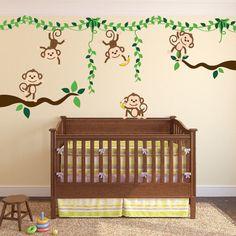 InnovativeStencils - Monkey Jungle Tree Vine Forest Wall Decal Safari Birds Sticker Set