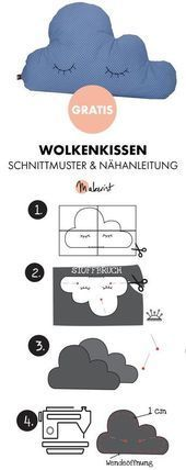 Gratis Anleitung: Kissen Wolke selber nähen - Schnittmuster und Nähanleitung via Makerist.de The Effective Pictures We Offer You About sewing projects apron A quality picture can tell you many things. Knitting Patterns Free, Free Pattern, Sewing Patterns, Crochet Patterns, Pillow Patterns, Free Knitting, Free Crochet, Sewing Dress, Sewing Clothes
