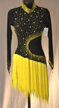 Black & Yellow Fringe Latin Dress with long mesh sleeves Tap Costumes, Dress Up Costumes, Girls Dress Up, The Dress, Samba, Tango, Dinner Gowns, Latin Ballroom Dresses, Salsa Dress