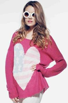 Wildfox Couture USA Heart Billy Sweater in Magenta on shopstyle.com