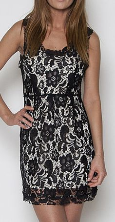 Black & Cream Lace Sleeveless Dress