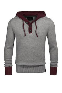 Grey and brown ringer wide neck sweater