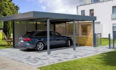 The carport is a series of roofs and walls that protect vehicles, such as cars, motorbikes, or bicycles from heat and rain. The difference with a garage, the carport does not have a full wall on al… Metal Barn Homes, Metal Building Homes, Pole Barn Homes, Building A House, Alu Carport, Carport Aluminium, Garage Préfabriqué, Plan Garage, Carport Designs