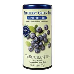 The Republic of Tea, Blueberry Green Tea, 50-Count - http://teacoffeestore.com/the-republic-of-tea-blueberry-green-tea-50-count/