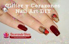 Tutorial de Uñas decoradas con glitter y corazón | Decoración de Uñas - Manicura y Nail Art