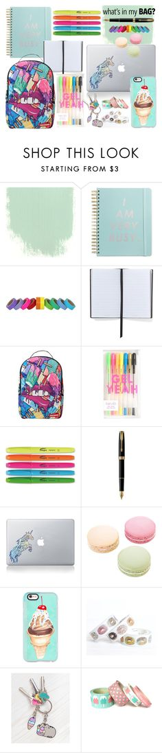 """""""What's in my Backpack?"""" by rebecca-miller-4 ❤ liked on Polyvore featuring ban.do, Smythson, Sprayground, Parker, Vinyl Revolution, Ladurée, Casetify, Pusheen, backpack and inmybackpack"""