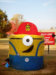hay bale decorating despicable me