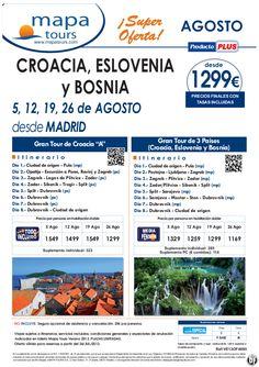 Croacia, Eslovenia y Bosnia salidas Madrid Agosto **Precio Final desde 1299** - http://zocotours.com/croacia-eslovenia-y-bosnia-salidas-madrid-agosto-precio-final-desde-1299/