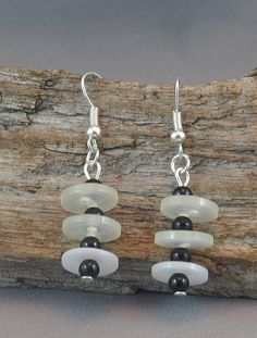 Black and White Earrings Upcycled Button by DeeDeeDeesigns on Etsy