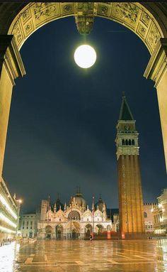 full moon over St. Mark's Square, Venice, Italy! Venezia Veneto,