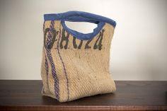 :: steph chows ::: Burlap Bag lined with old tshirt Diy Burlap Bags, Burlap Purse, Jute Bags, Coffee Bean Bags, Coffee Sacks, Creative Bag, Craft Bags, Fabric Bags, Handmade Bags