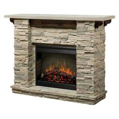 Electric fireplace with a stone-inspired mantel and interior light control.     Product:  Electric fireplace    Construct...