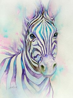 ARTFINDER: Turquoise Stripes by Arti Chauhan - Zebras are unique and most stylish of all wild animals.When they move in herds,their black stripes create a dazzling spectacle. But in my mind the stripes ar...