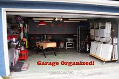 Amazing organized garage! You must see all the great ideas for getting it done :: OrganizingMadeFun.com