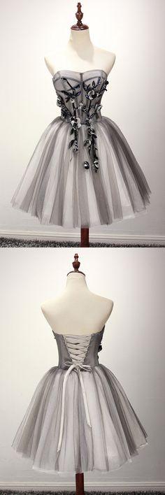 Tulle Gray Short Prom Dress Homecoming Dress Coktail Dress PG130