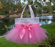 Embroidered dance bag White Tote Bag with Pink Tulle di naptime21