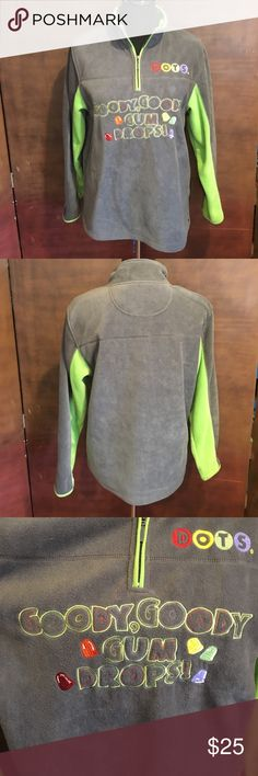Dots Candy Gray and Green Fleece Sweatshirt Dots Candy Gray and Green Fleece Sweatshirt. Gently used. Half zipper on front. Size is M 8/10. Checkout the Dots socks I have in my men's department!  Bundle and save! Tootsie Roll Shirts & Tops Sweatshirts & Hoodies