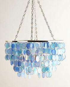 blue capiz shell look Mariana 3-Light Chandelier $521