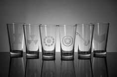 Awesome Avengers Set of 6 Etched Pint Glasses.