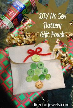 DIY No Sew Battery Gift Pouch. Christmas Gift Wrap Idea. #ad #PowerYourHoliday