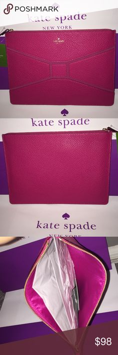 KATE SPADE GIA LEATHER CLUTCH. NWT Sweetheart pink NWT KATE SPADE GIA BRIDGE PLACE SWEETHEART PINK LEATHER CLUTCH.                    NO TRADES.  Make your offer NOW!  kate spade Bags Clutches & Wristlets
