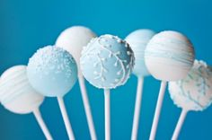 Simple and pretty blue and white cake pops.