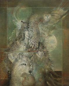 Susan Seddon-Boulet Archives Prints and Art Original - Turning Point Gallery Spirit Art, Wolf Spirit, Spirit Animal, Native Art, Native American Art, Fantasy Kunst, Fantasy Art, Animal Totem Meanings, Art Visionnaire
