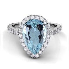Danhov Carezza Pear Shape Aquamarine Diamond Ring #Danhov #HandmadeJewelry #WholesaleJewelry #EngagementRing #WeddingRing #Bridal #MadeinUSA