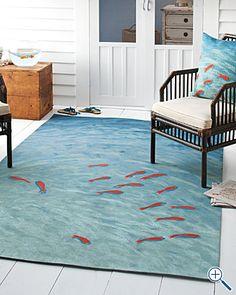Garnet Hill watercolor fish rug !! This looks super cool!!