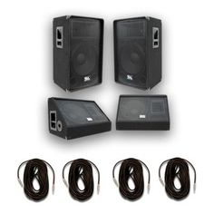 """Pair of 15"""" PA Speakers, 15"""" Floor Monitors, and 4 Cables"""