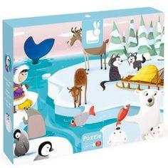 Este puzzle mide nada más y nada menos que ¡65cm x 50cm! y es de Janod. Sus protagonistas son los habitantes de una remota y fría zona de nuestro planeta: Un Inuit, unos simpáticos osos polares, pingüinos, huskies siberianos y renos entre otros. Edad: Para niños a partir de los 3 años.