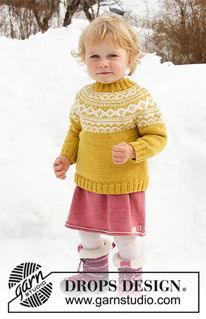 Little missy / DROPS children - free knitting patterns by DROPS design - Knitted sweater for babies and children with round yoke in DROPS Merino Extra Fine. The piece is wo - Baby Knitting Patterns, Jumper Knitting Pattern, Knitting For Kids, Baby Patterns, Free Knitting, Knitting Projects, Crochet Patterns, Baby Sweater Patterns, Drops Design