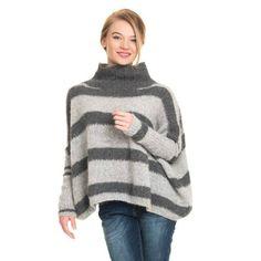 Tøff genser strikket i børstet babyalpakka