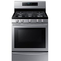 Samsung NX58H5650WS 30 In. Freestanding Gas Range with Wok Grate and 5.8 Cu. Ft. True Convection Oven, Stainless Steel