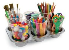 Fun way to store craft materials or school supplies!