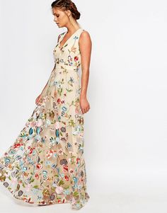 Image 4 of True Decadence All Over Embroidered Floral Maxi Dress
