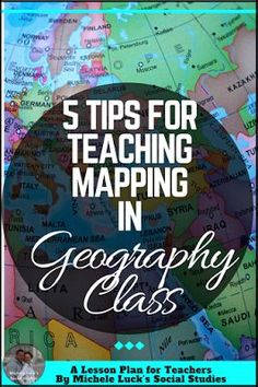 Easy to implement ideas and tips for Teaching Geography in the middle or high school classroom with lesson plan suggestions, websites to use, and activities to make learning more engaging. This part of the series focuses on mapping practice. Geography Lesson Plans, Geography Activities, Social Studies Lesson Plans, Social Studies Notebook, 6th Grade Social Studies, Teaching Geography, Teacher Lesson Plans, Social Studies Resources, Teaching Social Studies