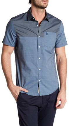 Original Penguin Short Sleeve Colorblock Slim Fit Shirt