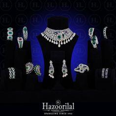 #Necklaces #Bracelets #Earrings displayed as eye candies allowing the captivating brilliance of each jewel to shine through. #HazoorilalBySandeepNarang #Diamonds #JewelleryAddict #HazoorilalExclusive #BridalJewellers #IndianJeweller #JewelleryStylist #Hazoorilal