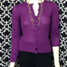 "LISTING Purple Button Down Sweater Awesome button down sweater that is cute and comfy. Bring to have handy when you get chilly or wear with jeans. (M) 25"" long, 16"" PTP, (L) 26"" long, 16.5"" PTP.(XL) 26"" long, 17"" PTP  100% acrylic Sweet Girl Sweaters Cardigans"