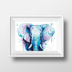 Cross Stitch Pattern Elephant Watercolor Animal by NikkiPattern