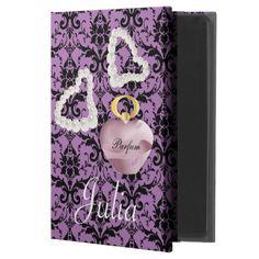 Parfum & Pearls Purple & Black Damask iPad Air 2 Case by #MoonDreamsMusic #iPadAir2Case #ParfumAndPearls #PurpleAndBlackDamask