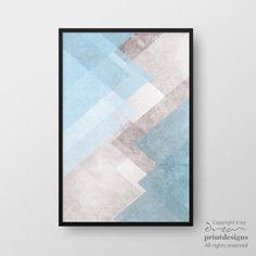 Printable Geometric Art, Modern Geometric Print, Abstract Wall Art, Blue Pastel Art, Modern Print, Minimalist Poster, Instant Download